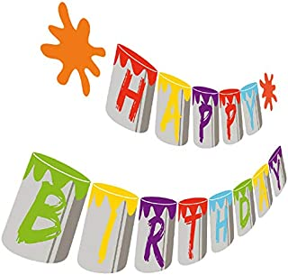 Art Birthday Banner, Painting Happy Birthday Party Sign, Artist Bday Bunting Hanging Decorations