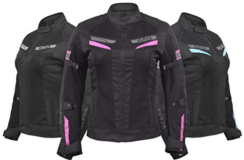 ALPHA CYCLE GEAR WOMEN'S MOTORCYCLE JACKET WOMEN RIDING MOTORBIKE CE ARMOURED ESCAPE (BLACK/PINK,...