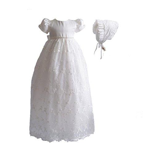 Cinda Vestido de Bautizo Largo de Encaje de bebé con bonete Marfil 0-3 Meses