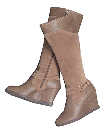 WALKX Damen Country Stiefel Wintersteifel Regenstiefel Boot Braun (41)
