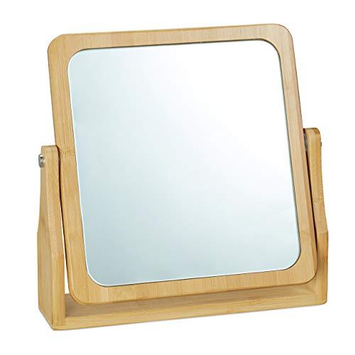 Relaxdays Kosmetikspiegel, 360° schwenkbar, eckig, stehend, zum Schminken, HBT 27x26,5x7 cm, Tischspiegel, Bambus, natur