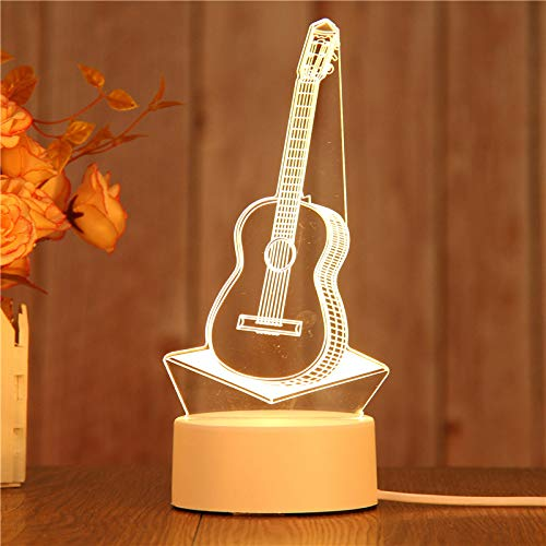 XOELVA 3D Printing LED Night Light, USB Warm Light Touch Remote Control Bedside Light (Battery can Also be Installed). You can Choose The Pattern You Like. (Guitar)