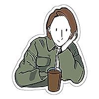 スマホステッカー スマホシール ステッカー シール シンプル おしゃれ かわいい 線画 デザイン 防水 耐水 スマホアクセサリー 携帯 パソコン 日記 手帳 スーツケース SS2-09 (パターン2, 縦60mm)