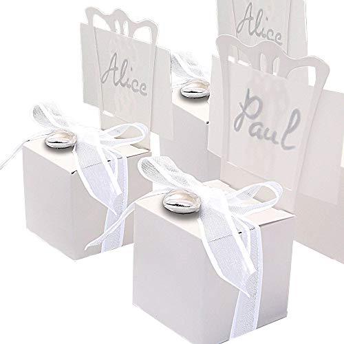 EinsSein 48x Kartonage Stuhl Weiss Gastgeschenke Hochzeit Hochzeitsmandeln Verpackung Box Tischdeko Kartonagen Schachteln Taufe Geschenkboxen Süßigkeiten Taufmandeln Tischkarten Bonboniere Wedding