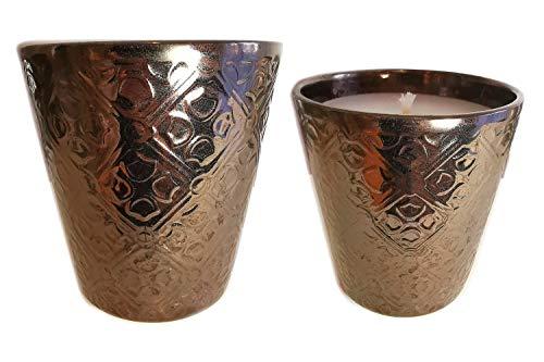 Der Perlenspieler® - Shabby Kerzenschmelzer Edel-Tischlicht mit Ornamenten in glänzendem Bronze-ca.14 cm x ca. 13 cm