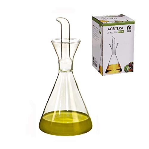 Home Gadgets Aceitera Antigoteo Cristal Transparente 250 ML para Cocina o Mesa