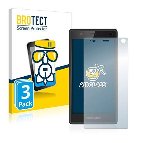 BROTECT Panzerglas Schutzfolie kompatibel mit Fairphone 2 (3 Stück) - AirGlass, extrem Kratzfest, Anti-Fingerprint, Ultra-transparent