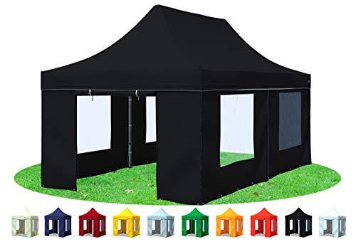 Stabilezelte Faltpavillon 3x6 Meter Prof. Plus+ mit Fensterseiten Schwarz