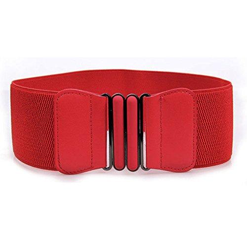 HuntGold 1 X femmes élégantes en cuir avec boucle de ceinture en métal Large taille Stretch Decor Corset Rouge
