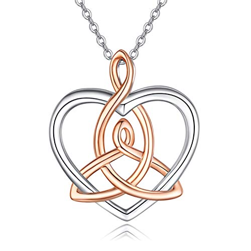 Celtic Necklace for Women Sterling Silver Heart Pendant Necklaces Good Luck Irish Celtic Knot Jewelry Gifts