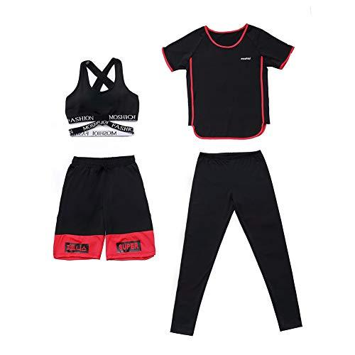 Set da yoga per fitness da donna, quattro pezzi di reggiseno + maglietta + pantaloncini + pantaloni, tuta da corsa per atletica, set di grandi dimensioni, tuta per lo sport.-red-L