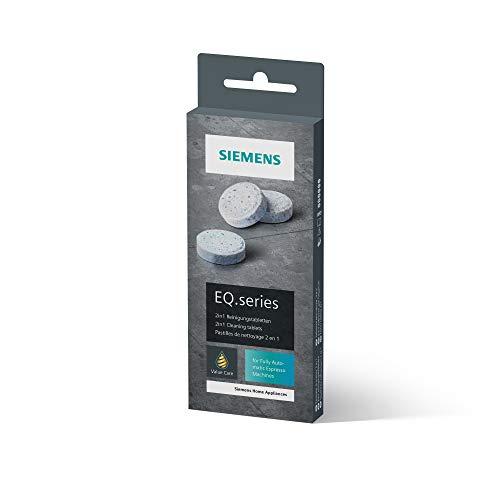 Siemens Reinigungstabletten TZ80001A, gründliche Reinigung, perfektes Aroma, für Kaffeevollautomaten der EQ.Serie, weiß
