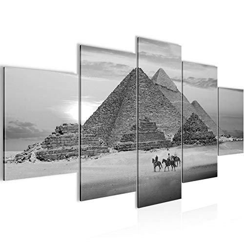 Runa Art - Cuadro Egipto Pirámides 200 x 100 cm 5 Piezas XXL Decoracion de Pared Diseño Negro Blanco 601851c