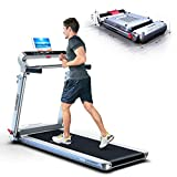 HARISON Folding Treadmill Portable Electric Running Machine 300 LBS Capacity with LCD Display, Device Holder and Adjustable Height for Home Cardio Workout