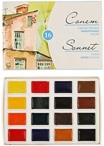 Sonnet Studio Watercolors Set 16 Colors in Pans Nevskaya Palitra