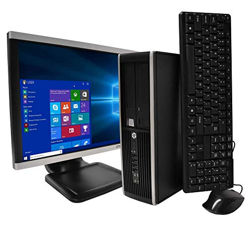 HP Elite Desktop PC, Intel Core i5 3.1 GHz, 8 GB RAM, 500 GB HDD, Keyboard/Mouse, WiFi, 17in LCD Monitor (Brands Vary), DVD-ROM, Windows 10, (Upgrades Available) (Renewed)