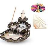 Ceramic Backflow Incense Holder Waterfall Incense Burner, with 120 Backflow Incense Cones + 30 Incense Sticks, Porcelain Lotus Censer, Aromatherapy Ornament Home Decor, AGX