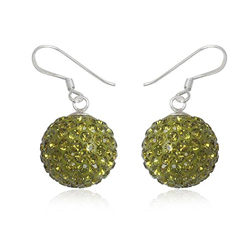 14MM Disco Ball Sterling Silver Dangly Drop Hook Earrings - GREEN OLIVINE or Choose From 31 Colours