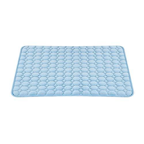 POPETPOP Almohadilla de Refrigeracion del Verano para Animal Doméstico Colchoneta Transpirable para Dormir Manta Frio para Perro y Gato (63x50cm, Azul)