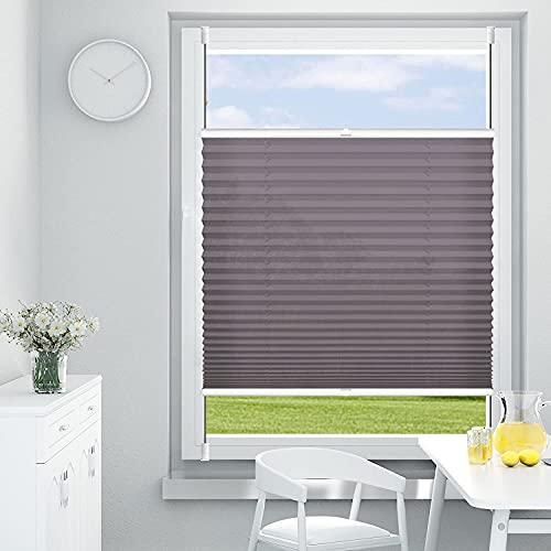 OUBO Plissee ohne Bohren Klemmfix, Anthrazit 85x120cm (BXH), Jalousie Easyfix Faltrollo mit Klemmträger Sonnenschutz und Sichtschutz lichtdurchlässig Rollo für Fenster & Tür