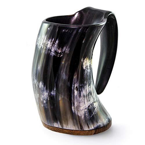 Norse Tradesman Original Handcrafted Viking Drinking Horn Mug w/ Burlap Gift Sack - (XXL - 30oz) by Norse Tradesman