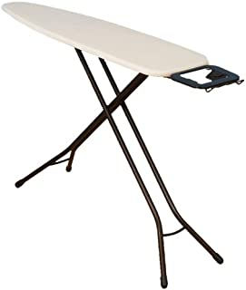 Household Essentials 814610-1 Classic Top 4-Leg Ironing Board with Iron Holder Stand- Natural Cotton Cover - Bronze