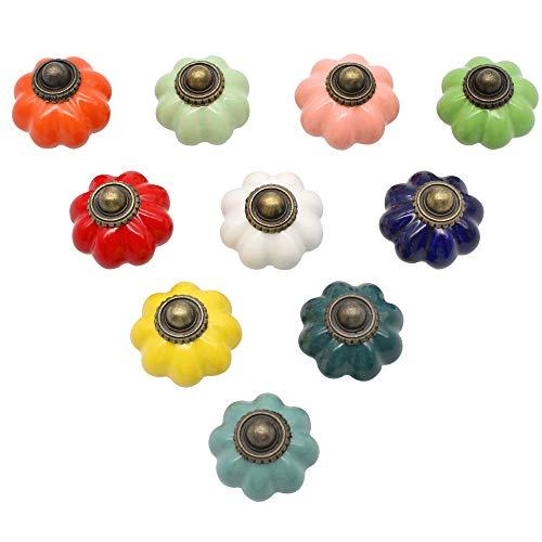 YGSAT 10 pomos de cerámica para armario de calabaza, estilo vintage, para puertas, pomos de cajón, tiradores de cajones y cajones