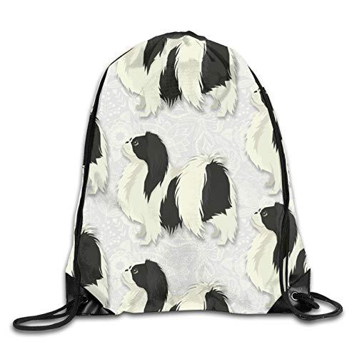 OMGiHome Japanese Chin Drawstring Bag Sport Gym Sackpack Drawstring Backpack Mouth Gym Sack Rucksack Shoulder Bags for Men & Women