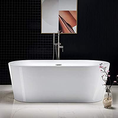 "Woodbridge 67"" Acrylic Freestanding Bathtub Contemporary Soaking Tub with Brushed Nickel Overflow and Drain, B-0002 / BTA1504"