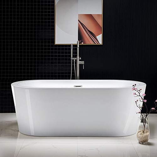 "Woodbridge 67"" Acrylic Freestanding Bathtub Contemporary Soaking Tub with Brushed Nickel Overflow and Drain, B-0002 / BTA1504"