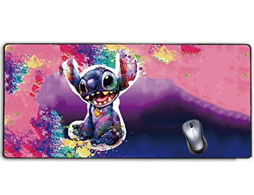 Extended Gaming Mouse Pad Disney Lilo Stitch Galaxy Pink Watercolor,Stitched Edge and No-sliped Large Desk Mat, Mousepad for Game Computer Keyboard, PC and Laptop
