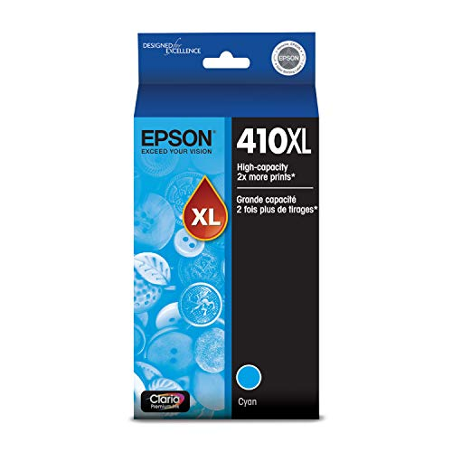 EPSON T410 Claria Premium Ink High Capacity Cyan Cartridge (T410XL220-S) for select Epson Expression Premium Printers