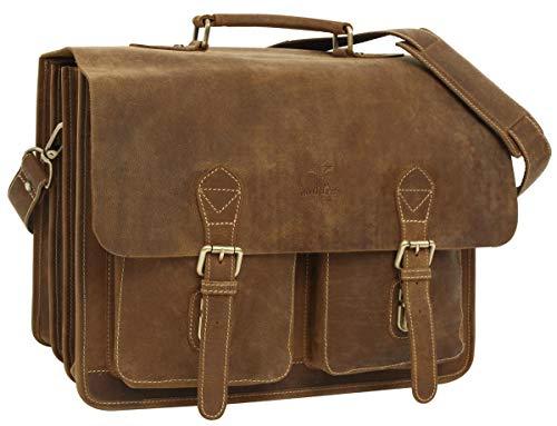 Gusti Gepäckträgertasche Leder - Marco P. Satteltasche Aktentasche Fahrradtasche Lehrertasche Bürotasche Arbeitstasche Ledertasche Braun Leder