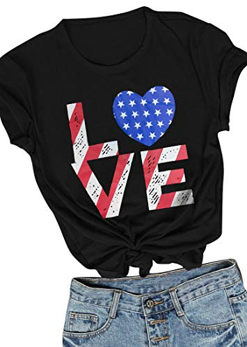 CYNICISMILE 4. Juli Kleidung Frauen Unabhängigkeit Tag Festival Shirt 4. Juli Damen Patriotische Shirts Kleidung -  Schwarz -  Klein