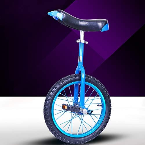 GAOYUY Einrad, Unisex\'s Professionelles Freestyle-Einrad 16/18/20/24 Zoll Starker Manganstahlrahmen for Kinder Und Erwachsene (Color : Blue, Size : 16 inches)