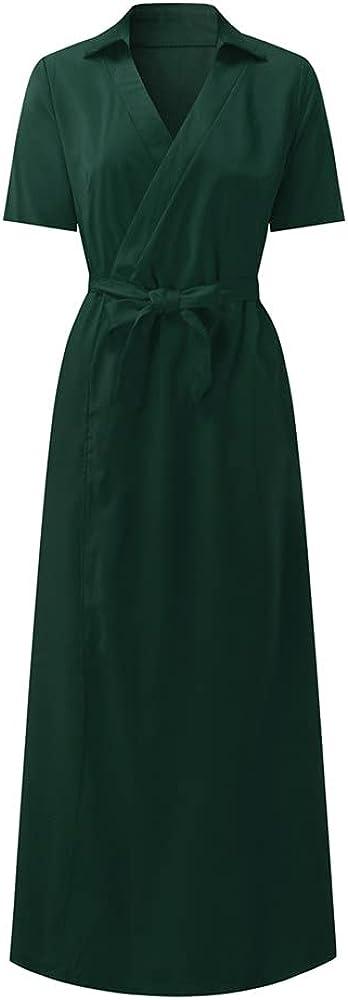 NP Womens Elegant Evening Party Prom Formal Dress Color Short Sleeve Slim Body