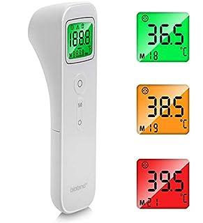 scheda termometri infrarossi, termometri frontale medico con led display 3 colori modalità di visualizzazione, termometro senza contatto per febbre per neonati, bambini, adulti