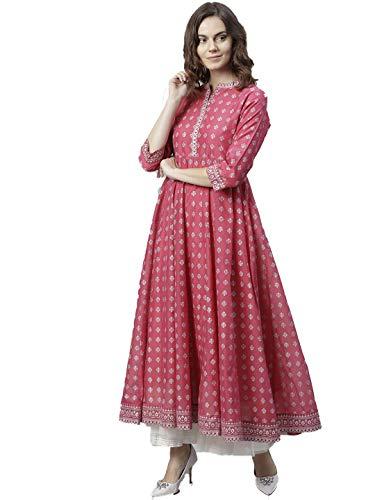 HIRAL DESIGNER Women Kurta Indian Kurtis Dresses for Women Casual Anarkali Kurti Long Dress (34, Pink & Grey)