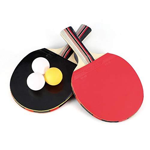Gmkjh Bate de Tenis de Mesa, Paleta de Tenis de Mesa, Juego de 2 paletas de Ping Pong de Madera de 7 Capas con Estuche de Transporte de Bolas para Jugadores con Agarre de Mano