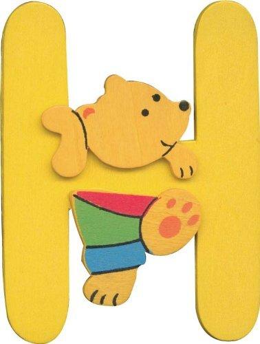 Wooden alphabet letter H with teddy bear design
