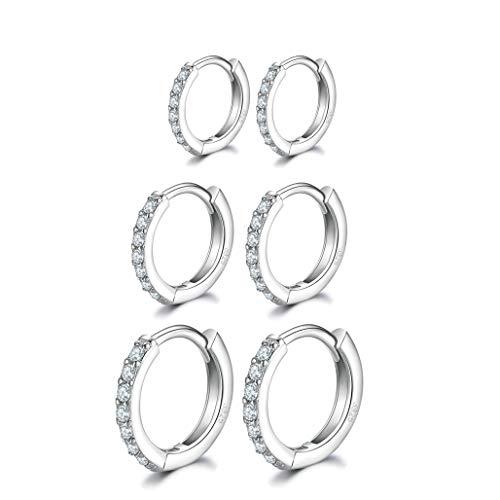 Silver Hoops Earrings for Women, 925 Sterling Silver Post Small Silver Hoop Earrings with AAA Cubic Zirconia, 3 Pairs Hypoallergenic Small Sleeper Hoops Huggie Hinged Earrings(8/10/12mm)