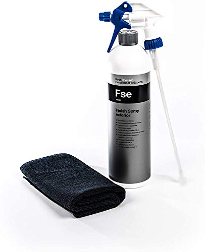 Koch Chemie FSE Finish Spray Exterior Schnellglanz mit Kalk-ex FSE + Clean 2 Sprühkopf+Microfasertuch 40 X40 cm Schwarz