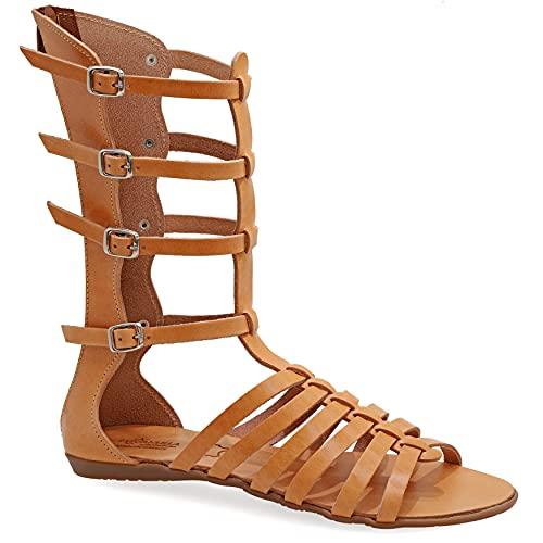 Emmanuela Sandalias de gladiador hechas a mano de cuero de la antigua Emmanuela griega, sandalias de becerro con cremallera en el vástago, sillas planas de verano para mujer, Beige, 37