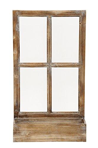 Deko-Fenster Fensterrahmen mit Pflanzkasten Holz Natur Shabby