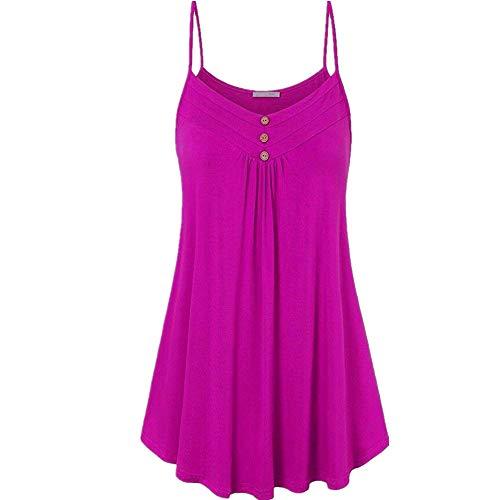 Camiseta Mujer Tops Mujer Elegante Chic Rayas Empalme Cuello Redondo Manga Larga Dobladillo Irregular Cómodo Casual Mujer Tops Camisa Mujer G-Purple L