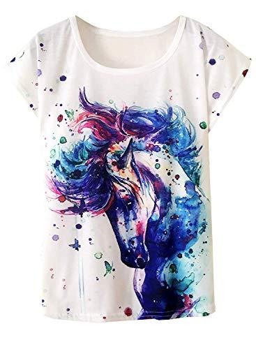 Doballa Damen Pferd T-Shirt Grafikdruck Kurzarm Casual Oberteile (S, Traumpferd)
