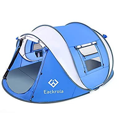"""Eackrola Pop Up Tent,3-4 Person Camping Tents 10 Second Instant Setup Tent,4 Ventilated Mesh Windows 2 Mesh Doors Tent Waterproof Tent,9.2'×7' with 50""""Center Height (Blue)"""