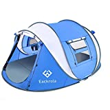 "Eackrola Pop Up Tent,3-4 Person Camping Tents 10 Second Instant Setup Tent,4 Ventilated Mesh Windows 2 Mesh Doors Tent Waterproof Tent,9.2'×7' with 50""Center Height (Blue)"