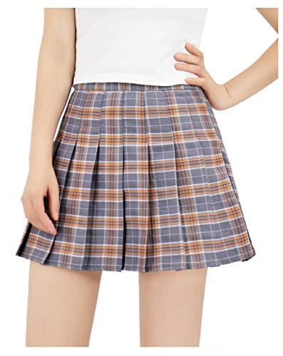 DAZCOS US Size Plaid Skirt High Waist Japan School Girl Uniform Skirts (Medium, Gray)