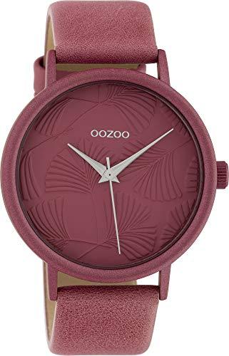 Oozoo Damenuhr mit Lederband 42 MM Colours of Oozoo Ginkgoblatt Zifferblatt Unicolor Altrosa C10396